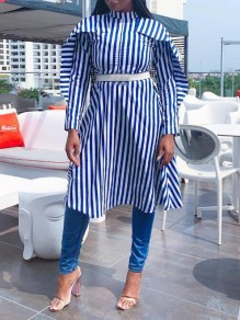 Blue-White Striped Pockets Ruffle Single Breasted Multi Way Casual Midi Dress