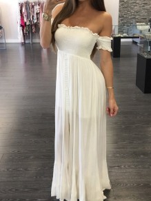White Bandeau Draped Off Shoulder Short Sleeve Homecoming Party Maxi Dress