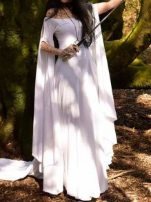 White Off Shoulder Pleated Long Sleeve Halloween Witch Party Snow Queen Maxi Dress