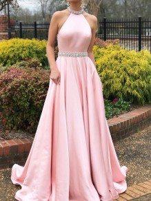 f08381f47d2 Pink Rhinestone Pleated Halter Neck Backless Wedding Gowns Party Maxi Dress