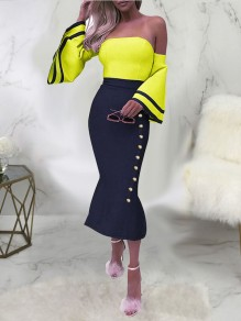 Yellow Off Shoulder Buttons Bodycon Bell Sleeve Backless Elegant Party Maxi Dress