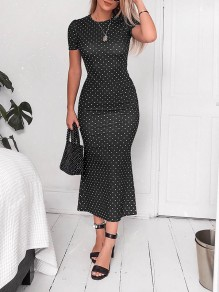 Black Polka Dot Cut Out Bodycon Round Neck Short Sleeve Streetwear Maxi Dress