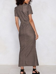 Coffee Polka Dot Cut Out Bodycon Round Neck Short Sleeve Streetwear Maxi Dress