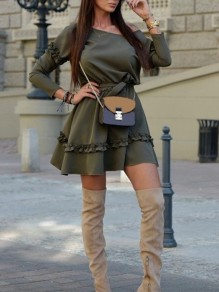 Grey Pleated One Off Shoulder Belt Long Sleeve Cute Homecoming Party Mini Dress