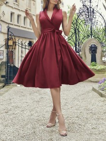 Wine Red Belt Draped V-neck Sleeveless Party Midi Dress