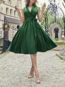 Green Belt Draped V-neck Sleeveless Elegant Party Midi A-line Dress