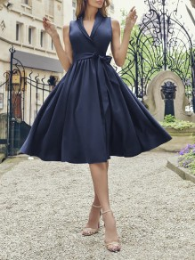 Dark Blue Belt Draped V-neck Sleeveless Party Midi Dress