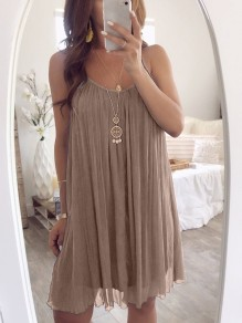 Khaki Patchwork Condole Belt Pleated Collarless Bohemian Mini Dress