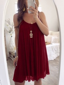 Wine Red Patchwork Condole Belt Pleated Collarless Bohemian Mini Dress