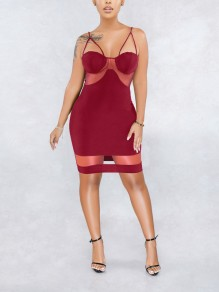 Burgundy Patchwork Grenadine Spaghetti Strap Bodycon Party Mini Dress
