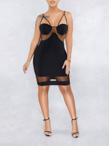 Black Patchwork Grenadine Spaghetti Strap Bodycon Party Mini Dress