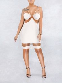White Patchwork Grenadine Spaghetti Strap Bodycon Party Mini Dress