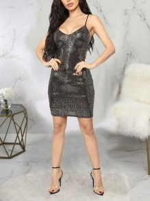 Black Patchwork Sequin Spaghetti Strap Backless V-neck Sparkly Glitter New Year's Eve Party Mini Dress