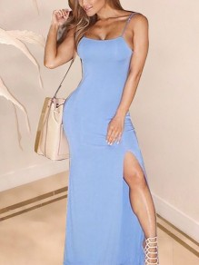 Light Blue Spaghetti Strap Side Slits Bodycon Party Maxi Dress