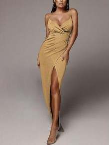 Golden Bright Wire Spaghetti Strap Side Slits Backless V-neck Sparkly Glitter Prom Evening Party Maxi Dress