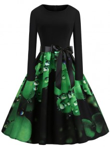 Green Patchwork Bow Print Round Neck St. Patrick's Day Party Midi Dress