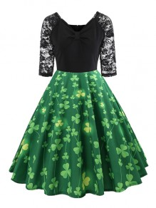Green Patchwork Floral Small Clover Print Lace Grenadine Draped V-neck Elbow Sleeve Elegant Midi Dress