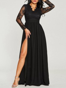 Black Patchwork Lace Draped Slit Long Sleeve Homecoming Party Maxi Dress