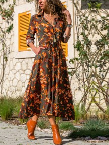 Orange Floral Belt Buttons V-neck Long Sleeve Bohemian Beachwear Maxi Dress