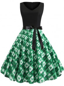 Green Patchwork Plaid Floral Clover Print Draped Bow Sashes V-neck Sleeveless Shamrock Irish St. Patrick's Day Elegant Midi Dress
