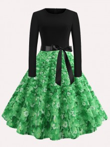 Green Black Clover Print Bow Draped Long Sleeve Shamrock Irish St. Patrick's Day Midi Dress