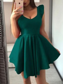 Green Ruffle Pleated Tutu V-neck Homecoming Party Mini Dress