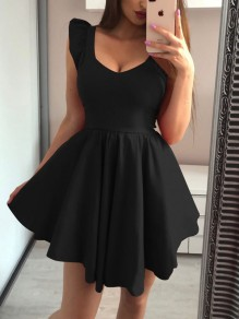 Black Ruffle Pleated Tutu V-neck Homecoming Party Mini Dress
