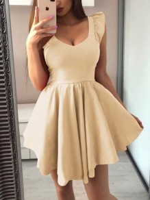 Apricot Ruffle Pleated Tutu V-neck Homecoming Party Mini Dress