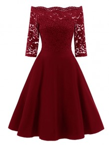 Wine Red Patchwork Lace Draped Pleated Boat Neck Three Quarter Length Sleeve Elegant Midi Dress