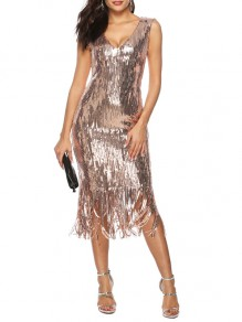 Golden Tassel Sequin V-neck Fashion Midi Dress