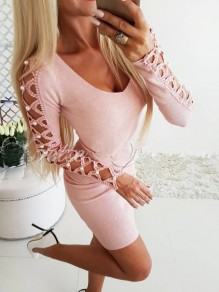 Pink Patchwork Cut Out Pearl V-neck Fashion Mini Dress