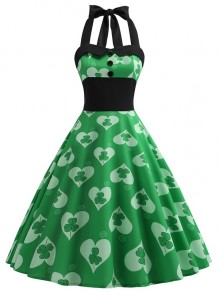 Green Floral Print Halter Neck Sleeveless Party Midi Dress