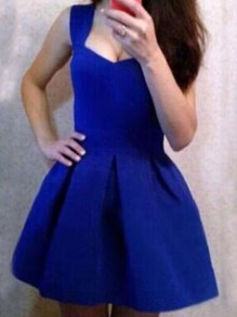 Blue Pleated Deep V-neck Backless Skater Tutu Homecoming Party Mini Dress