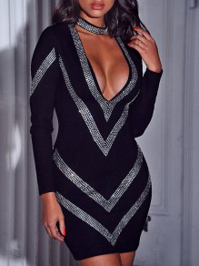 Black Patchwork Rhinestone Bodycon V-neck Long Sleeve Sparkly Glitter Birthday Party Mini Dress
