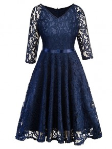 Navy Blue Patchwork Lace Draped Bow Sashes Cut Out V-neck Three Quarter Length Sleeve Elegant Midi Dress
