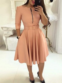 Pink Pockets Belt Zipper Long Sleeve Party Midi Dress