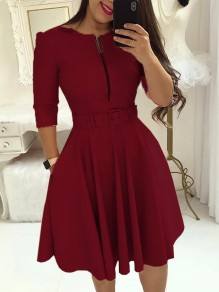 Wine Red Pockets Belt Zipper Long Sleeve Party Midi Dress