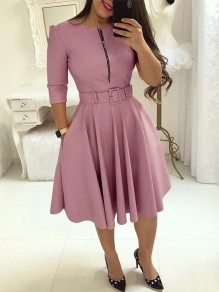 Purple Pockets Belt Zipper Long Sleeve Party Midi Dress