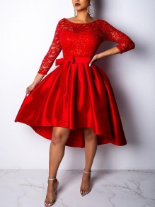 Red Patchwork Lace Irregular Sashes 3/4 Sleeve High-low Skater Tutu Homecoming Party Midi Dress
