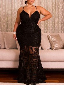 Black Patchwork Lace Spaghetti Strap Bodycon Mermaid Plus Size Prom Evening Party Maxi Dress