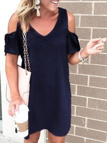 Navy Blue Cut Out V-neck Short Sleeve Going out Midi Dress