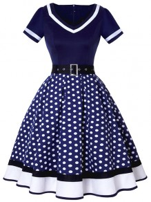 Navy Blue Polka Dot Belt Draped V-neck Party Midi Dress