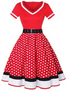 Red Polka Dot Belt Draped V-neck Party Midi Dress