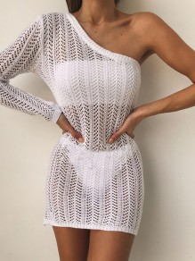 White Cut Out Asymmetric Bodycon Long Sleeve Going out Mini Dress