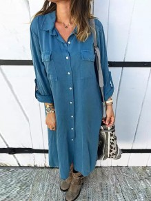 Blue Single Breasted Pockets Turndown Collar Long Sleeve Maxi Dress