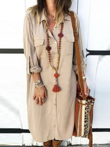 Khaki Single Breasted Pockets Turndown Collar Long Sleeve Maxi Dress