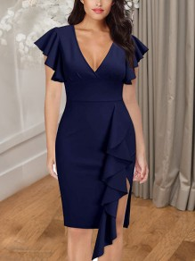 Navy Blue Cascading Ruffle Side Slits V-neck Bodycon Elegant Party Maxi Dress