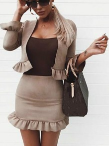 Khaki Cascading Ruffle Long Sleeve Fashion Two-Piece Dress