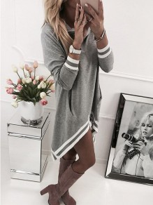 Grey Striped Pockets High-low Hooded Long Sleeve Mini Dress