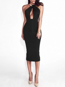 Black Patchwork Cut Out Bodycon Halter Neck Party Midi Dress